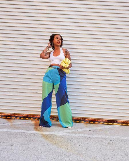 Wide leg pants  Colorblock pants  Crop tops  Green pants  Blue pants  Shein pants  Amazon purse  Amazon bag  Amazon clutch  #LTKunder50 #LTKunder100 #LTKstyletip