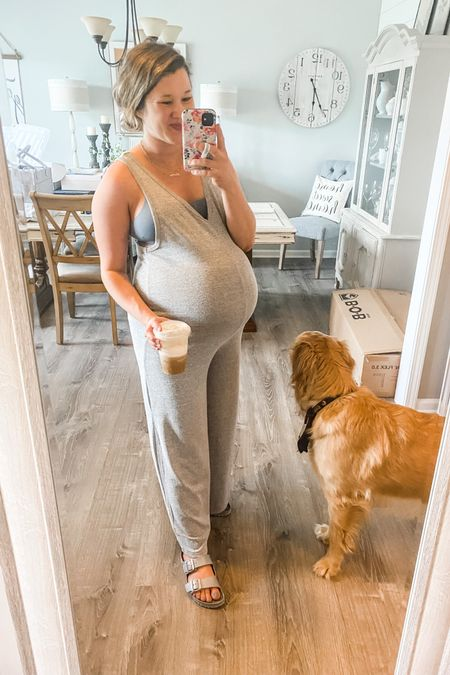 Knit racerback jumpsuit $10  Grey and black, size small still in stock.  Wearing size medium for reference with very large baby bump!  Lucky Brand multi-pack wire free bras and bralettes http://liketk.it/3i6KV #liketkit @liketoknow.it #LTKbump #LTKsalealert #LTKstyletip Shop your screenshot of this pic with the LIKEtoKNOW.it shopping app