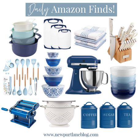 Shop my favorite blue and white kitchen accessories and small tools!    http://liketk.it/3jMes #liketkit @liketoknow.it @liketoknow.it.home #LTKhome #LTKsalealert #LTKunder100 blue mixing bowls, blue utensils, blue mixer, blue cutting boards, white knife set, kitchen knives, blue canisters, blue pasta machine, white colander, blue bowls, coastal