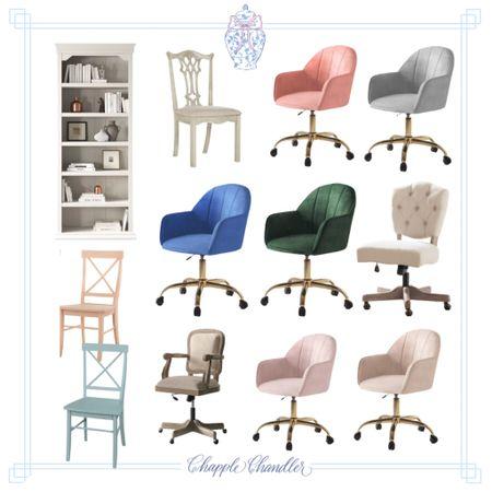 Office chairs desk chair swivel chair home office home decor bookshelf pink blue green velvet blush peach gray cream white   #LTKfamily #LTKmens #LTKhome