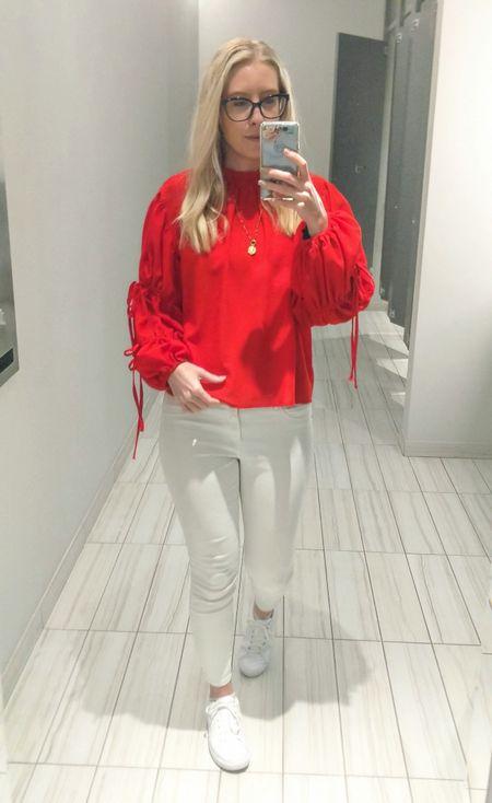 Memorial Day outfit. Red long sleeve blouse, white skinny jeans, white Nike sneakers, beaded necklace. http://liketk.it/3gl0x @liketoknow.it #liketkit #LTKstyletip #LTKunder50 #LTKunder100 #LTKworkwear