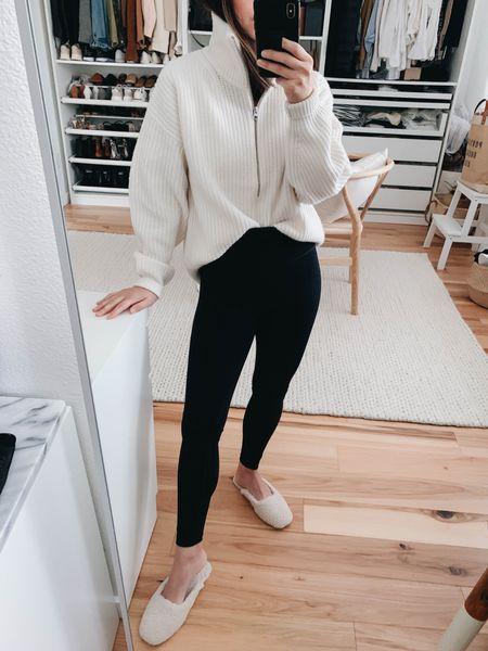 Everlane half zip sweater back in-stock. Wearing the xs.   Sweater - Everlane xs Leggings - Everlane xs Slippers - Banana Republic small on sale!   #LTKsalealert #LTKbump #LTKshoecrush