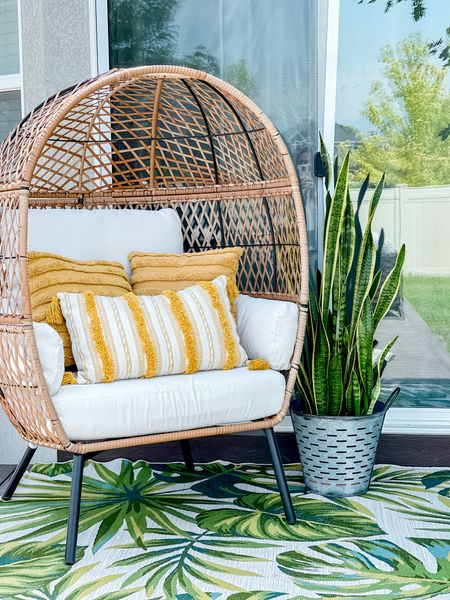 Simple Patio Setup from Walmart - egg chairs are the best! And this palm leaf rug is gorgeous!   #patiofurniture #walmartdeals Follow me on the LIKEtoKNOW.it shopping app to get the product details for this look and others    http://liketk.it/3iF9W #liketkit @liketoknow.it #LTKhome #LTKunder50 #LTKsalealert @liketoknow.it.home