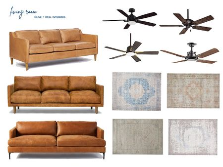 Check out these living room decor updates, with modern leather couches, new ceiling fans and vintage inspired rugs!   #LTKhome