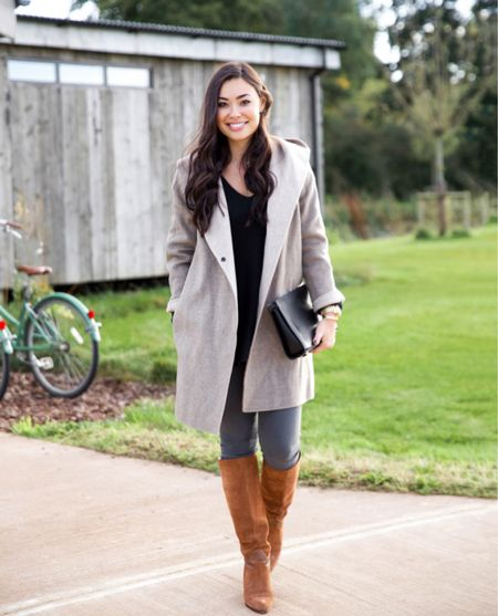 Grey coat and over the knee boots. #fallstyle #boots  #LTKshoecrush #LTKstyletip