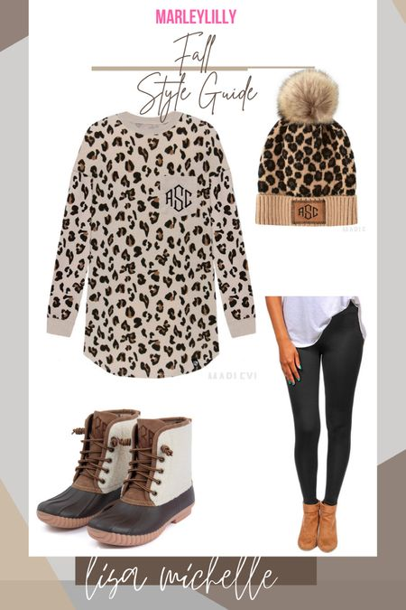 Leopard style guide! Marley Lilly!! Duck boots. Leopard hat. Leopard tunic! Leggings outfit. #LTKFall   #LTKunder100