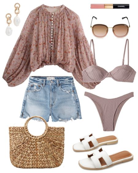 Summer time outfit! Love the color of this bikini & casual day at the beach look! 🏝 the perfect beach bag & sunnies to top off the look! 💕 http://liketk.it/3cOII  #liketkit @liketoknow.it   #LTKswim #LTKtravel #LTKsalealert #LTKstyletip #LTKunder50 #LTKunder100 #LTKbrasil #LTKeurope #LTKwedding  Shop my daily looks by following me on the LIKEtoKNOW.it shopping app   Spring break, white shorts, crop top, sandals, swimsuit
