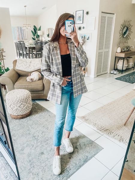 FALL OUTFIT IDEA💛  Fall outfits Blazer Amazon  Blazer looks Jeans and Sneakers  Casual fall outfit  Black crop top  Street style city outfit inspiration  Blazer and jeans   #LTKunder100 #LTKstyletip #LTKunder50