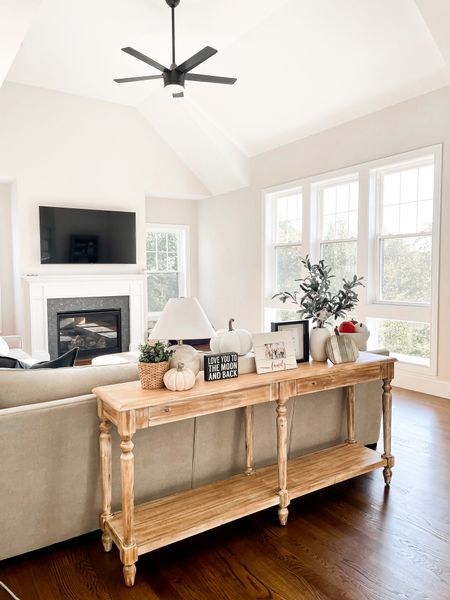Everett sofa table, classic gray paint, living room, black ceiling fan   #LTKhome