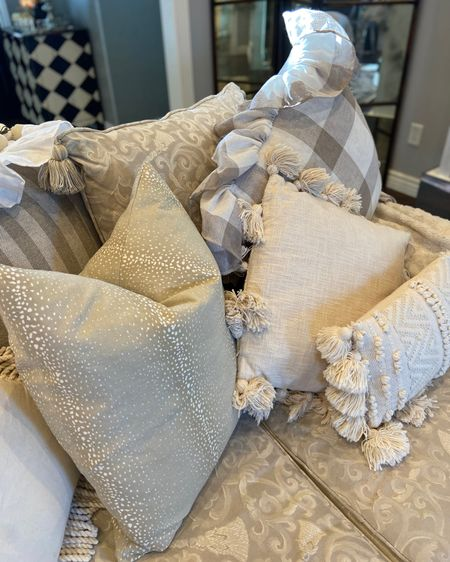Neutral pillow heaven❤️ Creams, tans, natural …pillows textural sand neutral prints! . #lkthome #ltkdecor  Perfect if you love Devore in #boho, #farmhouse #frenchcountry or a #calmpallet  . . .   #LTKstyletip #LTKHoliday #LTKSeasonal