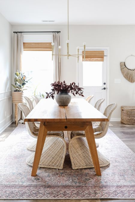 Dining room, amber interiors x loloi, vintage inspired rug, pink and blue vintage rug, oak dining table, rattan chair, linen curtains   #LTKSeasonal #LTKhome