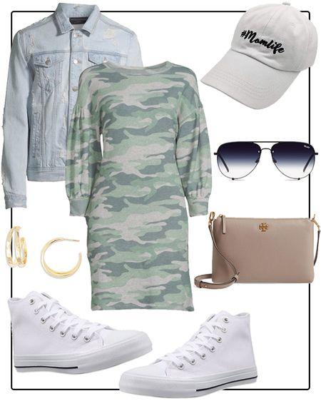 Casual outfit idea with camo dress and jean jacket   #LTKunder50 #LTKstyletip #LTKsalealert