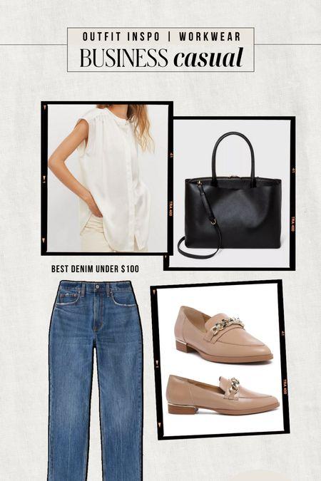 WORKWEAR INSPO: Business Casual  — White blouse — Black tote bag — Nude loafers — Straight leg denim  #LTKstyletip #LTKunder100 #LTKworkwear