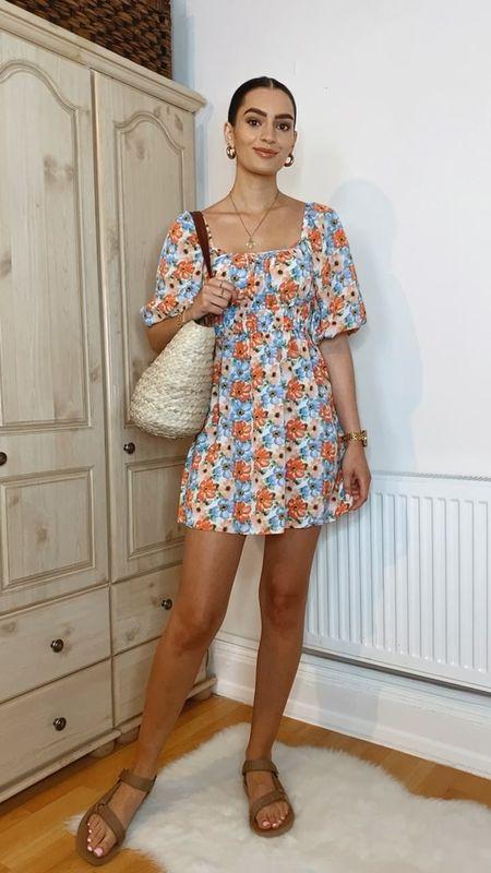 Summer dress outfits✨ Outfit 4. floral mini dress, basket bag, teva sandals  #LTKstyletip