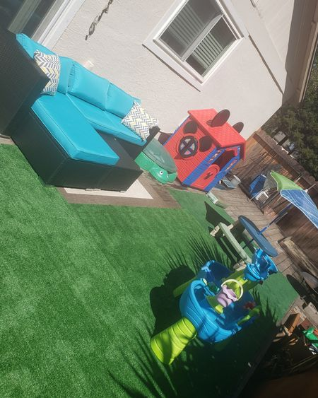 Gave the backyard & deck a little makeover this weekend with some fake grass, outdoor rugs, and kids toys to keep the little one busy while I tan on my new patio set. Added a sandbox, water table, picnic table, and mickey playhouse. http://liketk.it/3et9w @liketoknow.it #liketkit #LTKSpringSale #LTKsalealert #LTKstyletip #LTKunder50 #LTKunder100 #LTKhome #LTKfamily #LTKswim #LTKkids #LTKbaby @liketoknow.it.home @liketoknow.it.family
