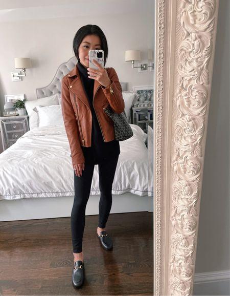 Petite friendly leather moto jacket // Nordstrom Anniversary Sale   •Allsaints Darby jacket size 00 •Gucci mules size 35.5 •Zella 7/8 leggings  •Similar black knit sweaters linked   #petite #NSale  #LTKsalealert #LTKshoecrush
