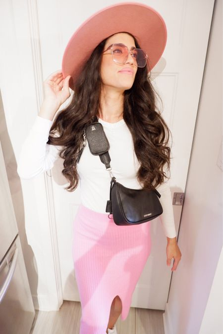 Pink fall outfits  Pink ribbed skirt  White ribbed top  BVITAL Steve Madden crossbody  Pink fedora  Follow my shop on the @shop.LTK app to shop this post and get my exclusive app-only content!  #liketkit #LTKstyletip #LTKunder100 #LTKSeasonal @shop.ltk http://liketk.it/3nO5V  #LTKunder100 #LTKSeasonal #LTKstyletip