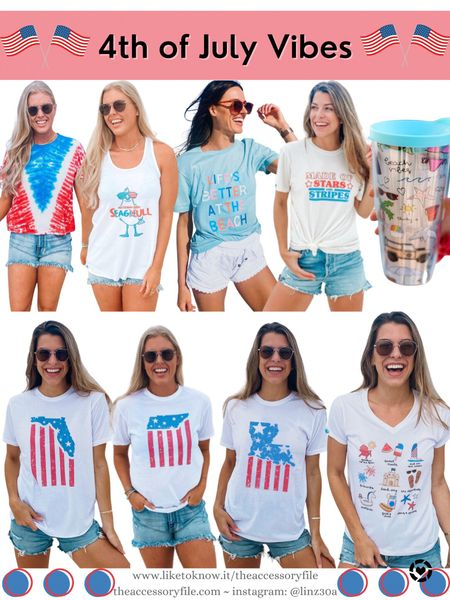 4th of July tees and tanks, patriotic shirts, red white and blue outfits, 4th of July looks, 4th of July outfits, beach vacation, 30A gear, American flag shirts    http://liketk.it/3i8wQ   #liketkit @liketoknow.it #LTKtravel #LTKunder50 #LTKseasonal #LTKsummer