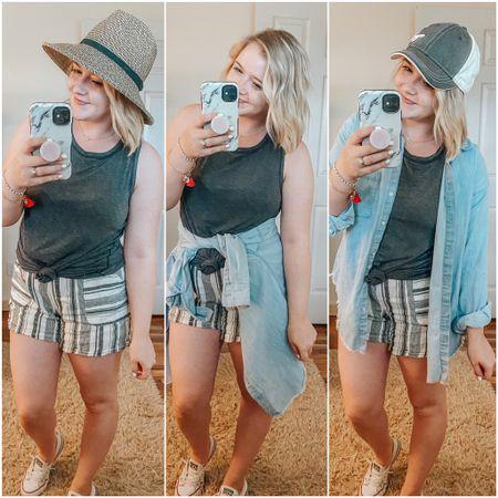 Linen blend shorts, striped shorts, linen shorts outfit, gray tank, target tank top, amazon finds, mom outfit, converse, tassel bracelet, casual summer.   http://liketk.it/2R044 #StayHomeWithLTK #LTKshoecrush #LTKstyletip #liketkit #ltkmom #ltksummer @liketoknow.it