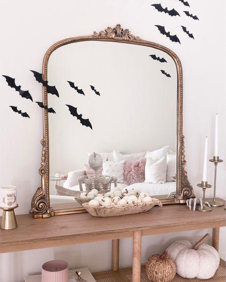 Added some spooky details 🦇 to the console table   bats, amazon, Halloween, primrose mirror, living room, Target   #LTKSeasonal #LTKunder50 #LTKunder100