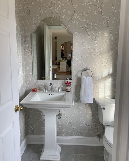 Powder room Bathroom Wallpaper Target home  Target decor Anthropologie Anthro Pedestal sink Towel ring Kohler memoirs  Sink  http://liketk.it/366N2 #liketkit @liketoknow.it #LTKhome #StayHomeWithLTK #LTKsalealert