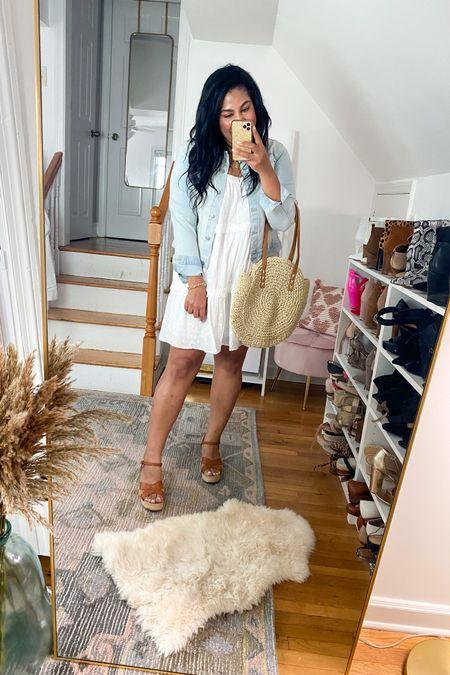 LOFT dress is on sale wearing an XL! Walmart fashion denim jacket is only $19, wearing a L #liketkit http://liketk.it/3gMIC   @liketoknow.it #LTKcurves #LTKunder50 #LTKsalealert    size 12, size 14, white dress, wedges, Jean jacket, denim jacket, eyelet dress, straw purse, midsize, mid size, plus size, summer outfit idea, vacation outfit, beach outfit