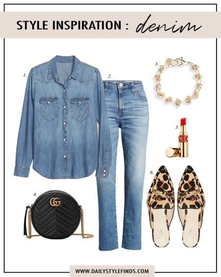 Style Inspiration Outfit Guide: Denim on Denim outfit with leopard.  Western denim shirt, leopard mules, jeans, Gucci quilted bag, red lipstick. #outfitguide #denimshirt #memorialdaysales #cuteoutfit http://liketk.it/3gwhG #liketkit @liketoknow.it