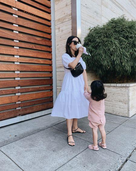 White dresses for summer. Tiered white dress  Dress - Everlane xxs Bag - Clare.  Sandals - Kaanas 5  http://liketk.it/3eMQ1 #liketkit @liketoknow.it #LTKshoecrush #LTKstyletip #LTKunder100