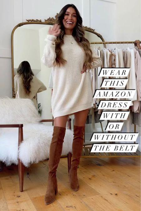 This Amazon sweater dress is only $30! Click here to shop!  #LTKshoecrush #LTKunder50 #LTKstyletip