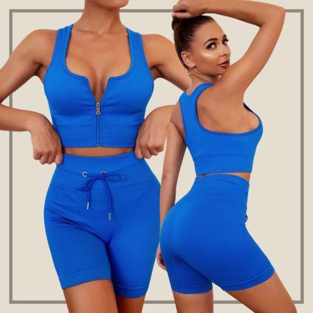 Half zip sports bra and shorts activewear set  #LTKunder50 #LTKfit #LTKstyletip