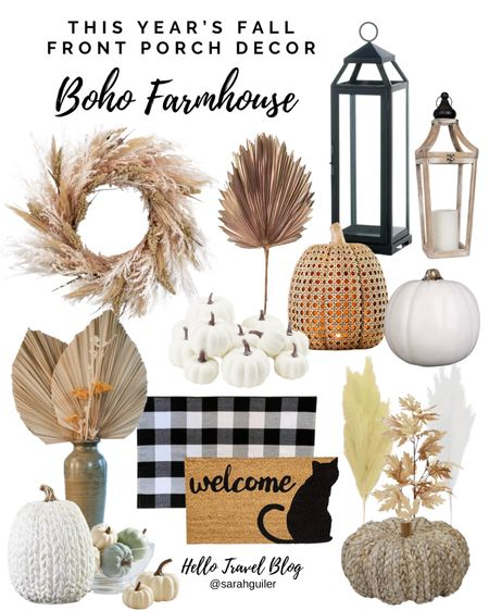 Fall decor. Fall front porch decor. Buffalo plaid rug. Doormat. Black cat mat. Palm. Pampas. Autumn decor. Harvest decor. Farmhouse decor. Bohemian decor. Lantern. Fall wreath.   #LTKSeasonal #LTKunder100 #LTKhome