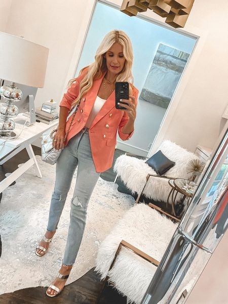 Happy Monday beauties! I'm sharing 7 chic and affordable looks from Express today on the blog. Most pieces are under $100 including ALL of the DENIM! Which is your favorite?   I'm really loving this stunning coral blazer and you won't believe the price! It runs tts, I'm wearing an XS.  Follow my shop on the @shop.LTK app to shop this post and get my exclusive app-only content!    #LTKstyletip #LTKshoecrush #LTKunder100
