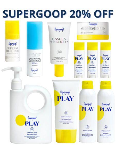 Supergoop on sale 20% off the best sunscreen best face sunscreen SPF clean beauty queen skin care summer vacation summer trips what to pack beach trip beach vacation http://liketk.it/3gPRa #liketkit @liketoknow.it   #LTKbeauty #LTKunder50 #LTKsalealert