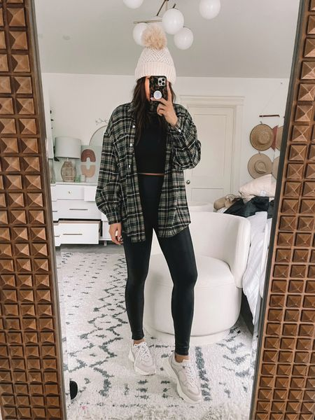 Spanx - tts large  Plaid jacket - size up large  Dad sneakers - tts Crop top - size up XL