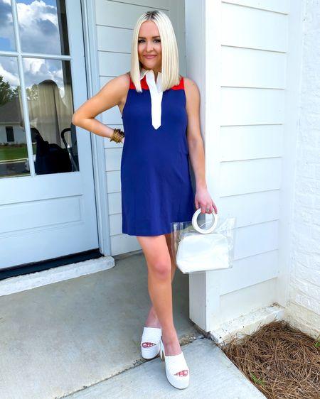Sleeveless polo mini dress (XS) with white woven platform sandals.. early 00s fashion vibes  http://liketk.it/3jyJm @liketoknow.it #liketkit