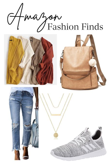 Amazon fashion fines cardigan sweaters leather backpack boyfriend distressed jeans layering necklace tennis shoes Adidas sneakers  #LTKGiftGuide #LTKunder50 #LTKstyletip