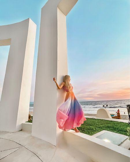 Beach dress, maxi dress, wedding guest dress, wedding dress, pastel dress, vacation dress, Sumer dress http://liketk.it/3dU5h #liketkit @liketoknow.it #LTKwedding #LTKstyletip #LTKtravel