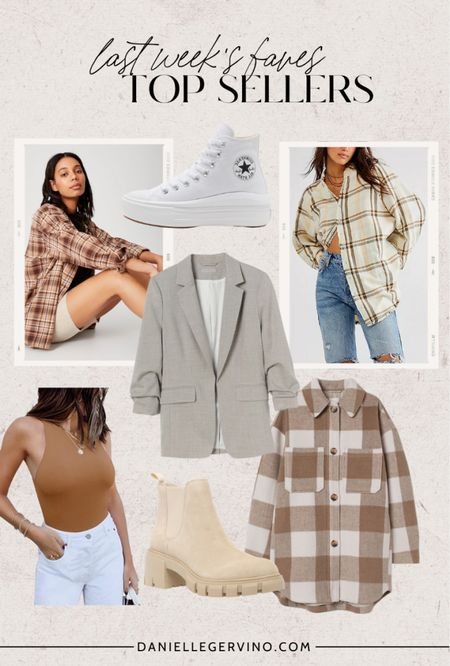 Last week's top sellers!  Flannel shirt, flannel button up, converse high tops, white sneakers, blazer, workwear, fall blazer, high neck tank, shirt jacket, jacket, plaid shacket, chunky boot, fall bootie