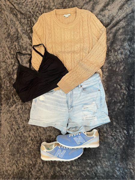 Put together some finds from American Eagle! It's still hot in South Carolina but chilly weather at night and in the mornings. If you could feel how soft this sweater is!!!   The colors on the New Balance shoes are my fav!!!     #LTKstyletip #LTKcurves #LTKSale
