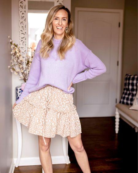 Lavender target sweater size small; Amazon skirt size small http://liketk.it/39LoJ @liketoknow.it #liketkit #LTKunder50 #LTKstyletip #LTKunder100