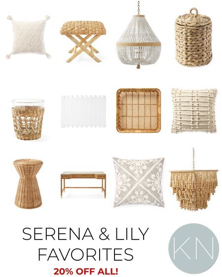 Serena & Lily favorites are all* 20% off with code NEWSEASON. Home decor coastal decor rattan bench neutral pillow beaded chandelier rattan desk woven tray  #LTKsalealert #LTKhome