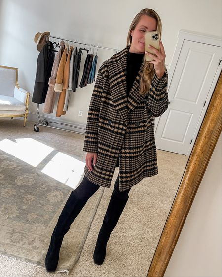 A plaid coat that's both unique and classic 🖤 It's going in and out of stock, so I linked two similar as well. Wearing XS in the coat, S in sweater, 26 in jeans (run tight), and my true size in the boots.  #falloutfits #plaidcoat #fallcoat #kneehighboots