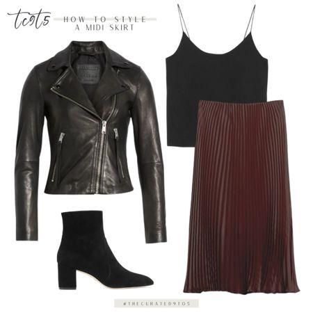 Black leather jacket, black silk cami, pleated midi skirt, suede black bootie, date night look  #LTKstyletip #LTKshoecrush #LTKunder100