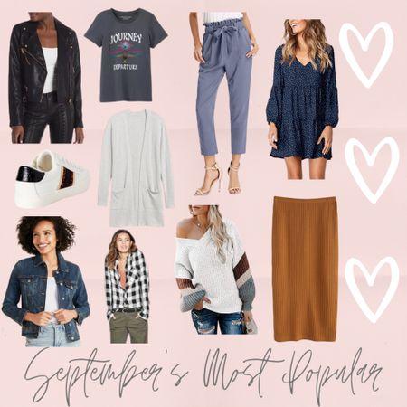 September's most popular: my leather jacket, white sneakers, amazon sweater, long cardigan, midi skirt, oversized flannel, jean jacket, graphic tee, amazon dress, and work pants from amazon! So many cute amazon finds http://liketk.it/2Yac0 #liketkit @liketoknow.it #LTKshoecrush #LTKsalealert #LTKunder50