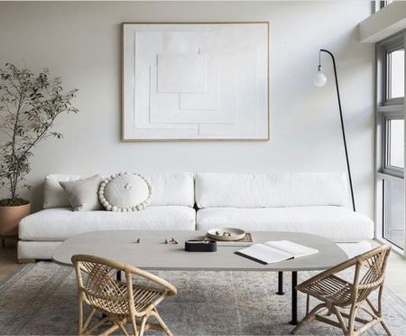 This chic yet casual low-profile sofa has a clean silhouette  and is perfect for a small space   #LTKHoliday #LTKhome