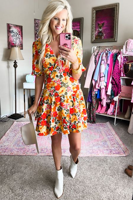 Orange floral dress size M - perfect for fall!! Such great quality! Use code KIM15 for 15% off!  Fall church dress Fall wedding guest dress Fall family photo dress, date night dress, work dress White ankle booties TTS - the most comfy White fedora  Gold target hoops  Gold bracelet stack   #LTKunder100 #LTKstyletip #LTKSeasonal