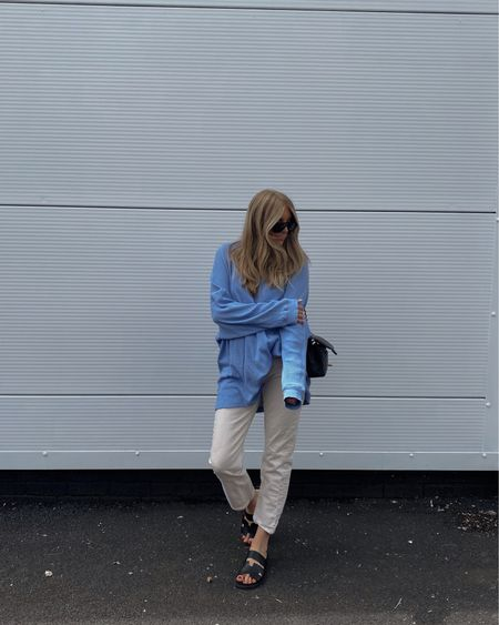 Casual summer outfit, white jeans outfit, free people too, & other stories jeans, cream straight leg jeans , black sandals, Hermes dupes @liketoknow.it #liketkit http://liketk.it/3mx6Z #LTKeurope #LTKstyletip #LTKunder100