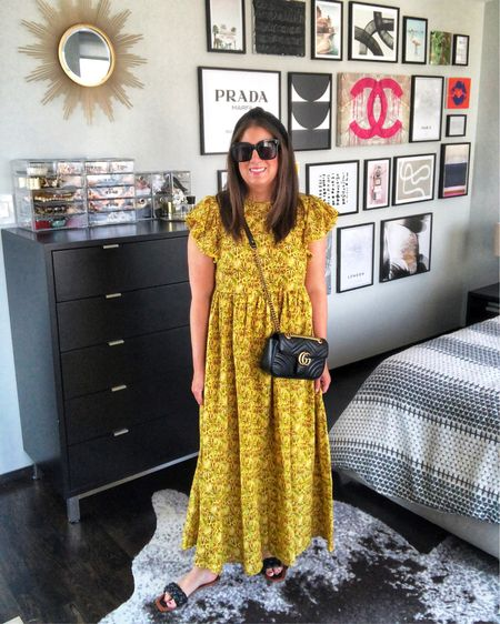 Yellow Palm Print Dress ❤️❤️// http://liketk.it/3jNMM #liketkit @liketoknow.it