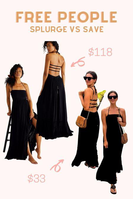 Free People splurge vs save maxi dress. Comes in many colors. Wearing small.   #LTKtravel #LTKunder50 #LTKsalealert