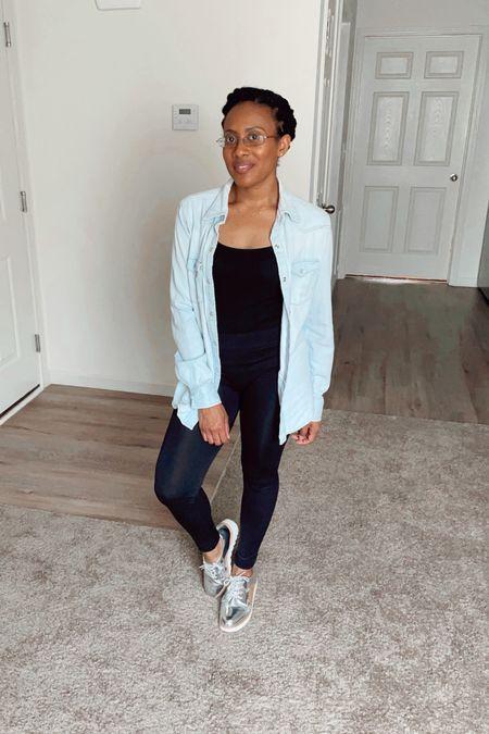 "Head to www.atalktoremember.com to learn ""Four Ways to Style Leggings.""#jean #shirt #denim #chambray #blue #leggings #cami #tank #workout #falloutfit #fall #autumnlook #autumn #oxfords #style #simple #gotostyle #goto  #LTKfit #LTKSeasonal #LTKstyletip"